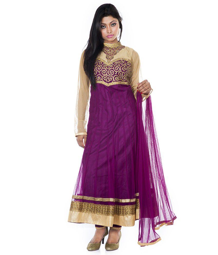 Maurvi Purple Net Stitched Suit