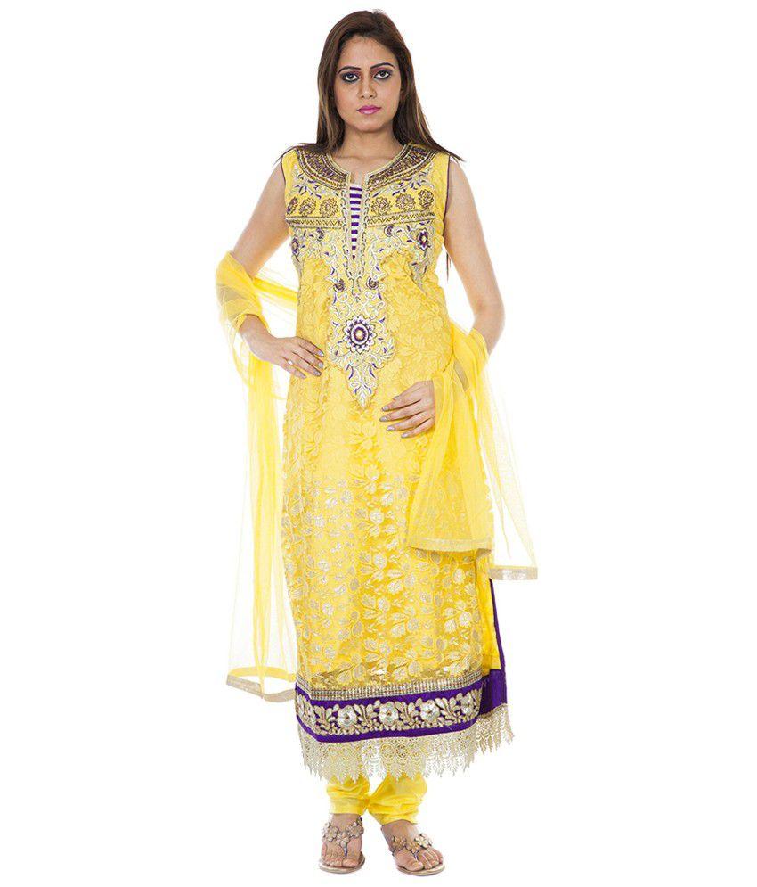 Maurvi Yellow Net Stitched Suit