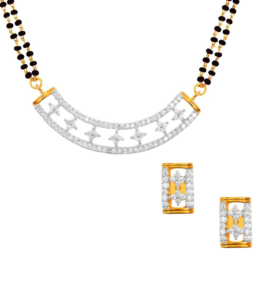 Aaduki Silver Brass Two Tone Mangalsutra Set
