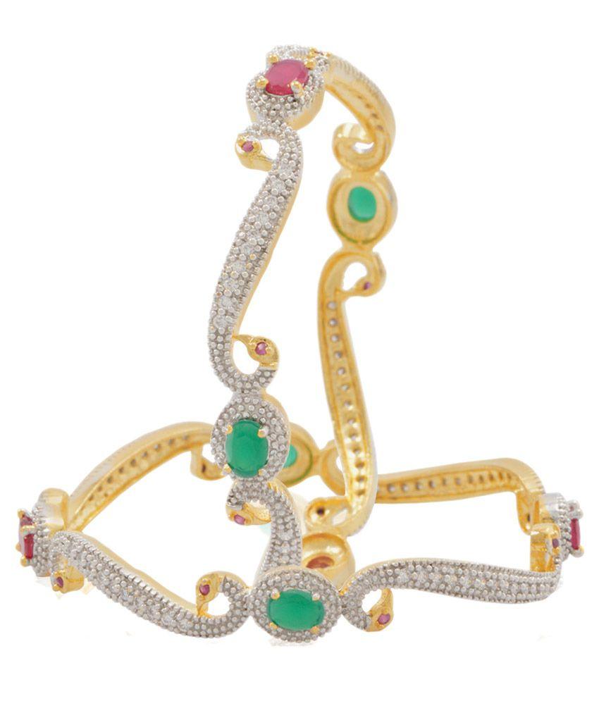 Jewels Galaxy Precious Mayur American Diamond Studded Bangles With Peacock
