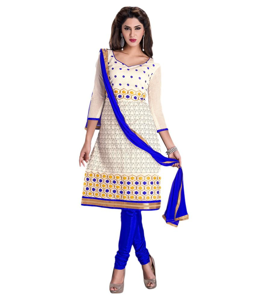 LBW White Chanderi Unstitched Dress Material
