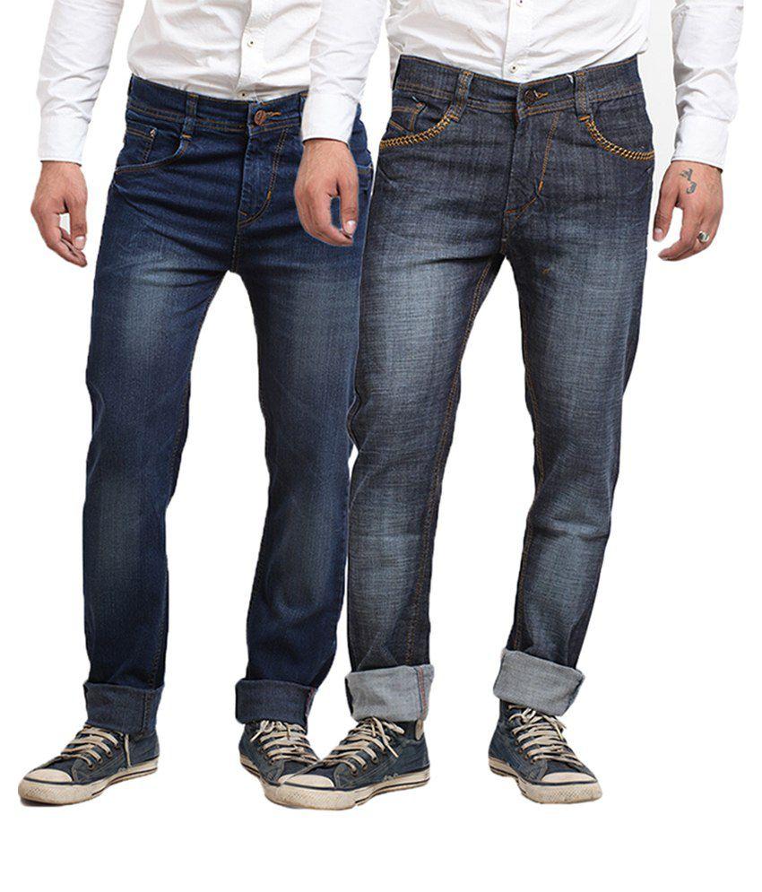 X-CROSS Blue Cotton Blend Regular Fit Jeans - Pack of 2