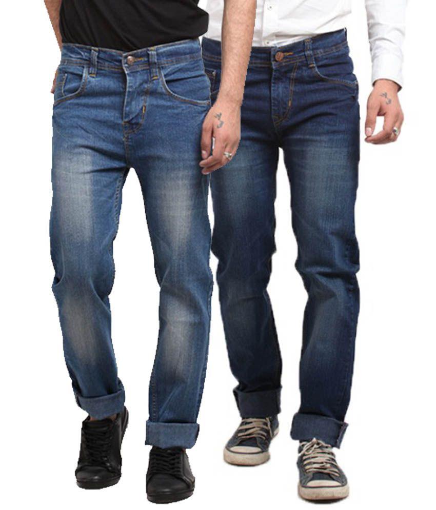 X-cross Multicolour Cotton Blend Men Jeans Pack of 2