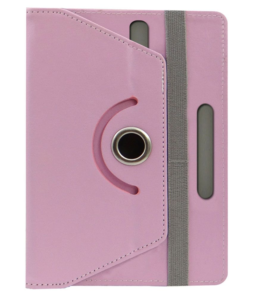 ACM Rotating 360 Degree Leather Flip Case Cover for Lenovo Ideapad A1 Tablet with Stand - Light Pink