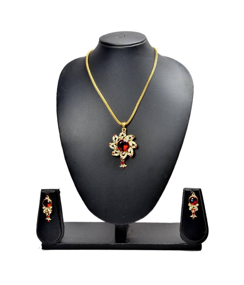Akshada Creation Necklace Set - Maroon