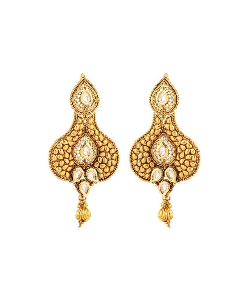 Cyan Golden Chandelier Earrings