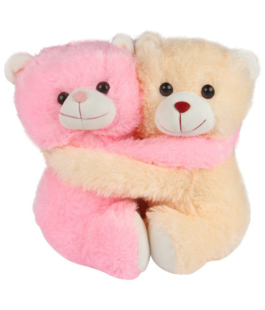 Deals India Beige & Pink Cuddling Couple Teddy Bear Soft