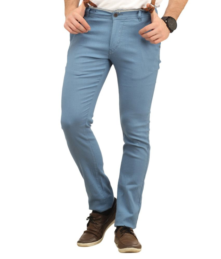 Indian Personality Manufacturing Company Blue Cotton Casual Trouser