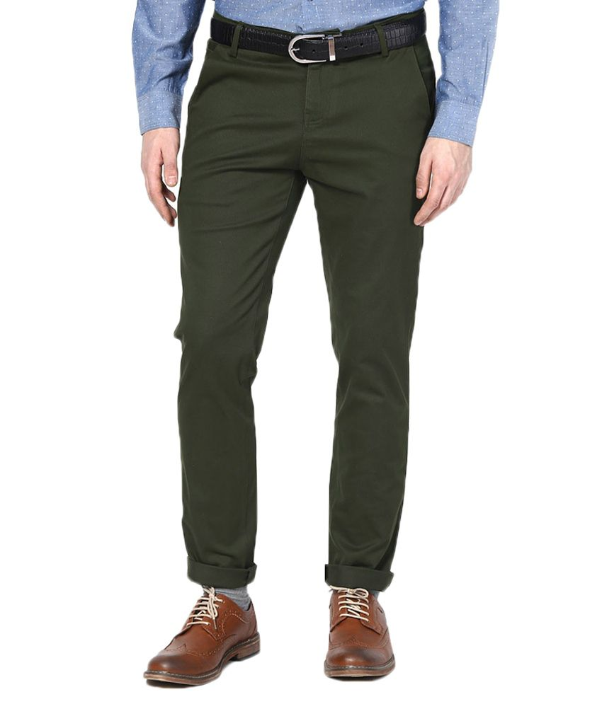 Indian Personality Manufacturing Company Green Cotton Casual Trouser