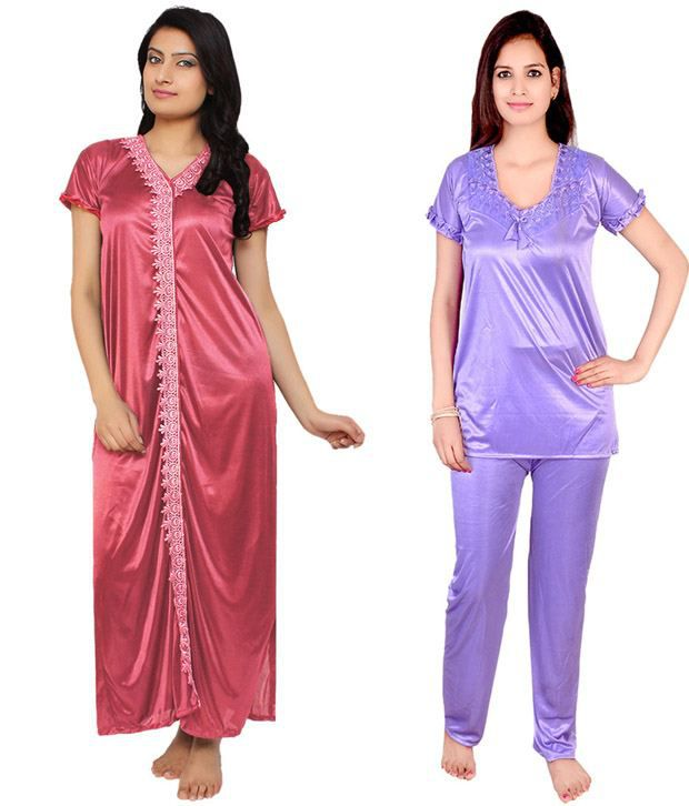 Krazy Katz Multi Color Poly Satin Nighty & Night Gowns Pack of 2