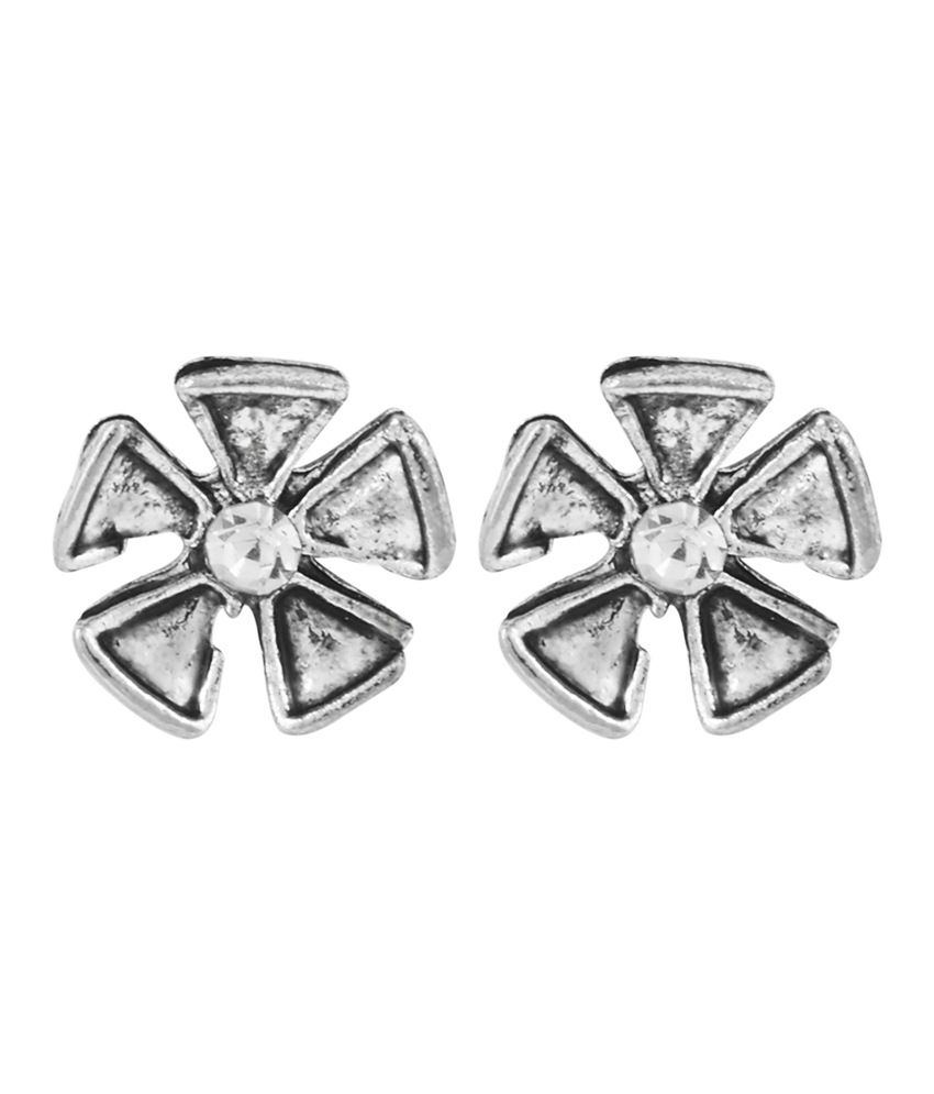 Trisha Rodhium Plated Brass Stud Earring In Antique Silver