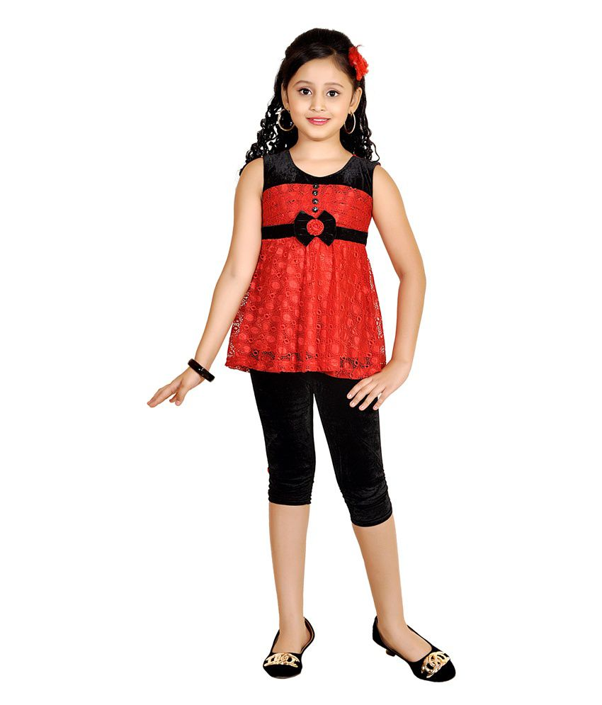 30ec26824 ABHIRA Net Embroidered Red Top & Legging Set for Girls - Buy ABHIRA Net  Embroidered Red Top & Legging Set for Girls Online at Low Price - Snapdeal