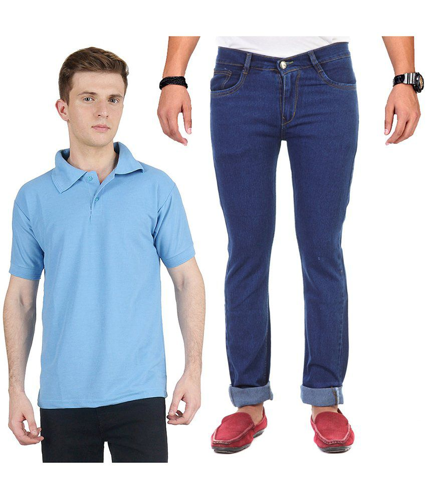 Ave Blue Regular Combo Of Jeans & Blue Polo T-Shirt