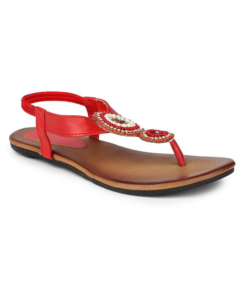 DJH Red Sandal Slip-On