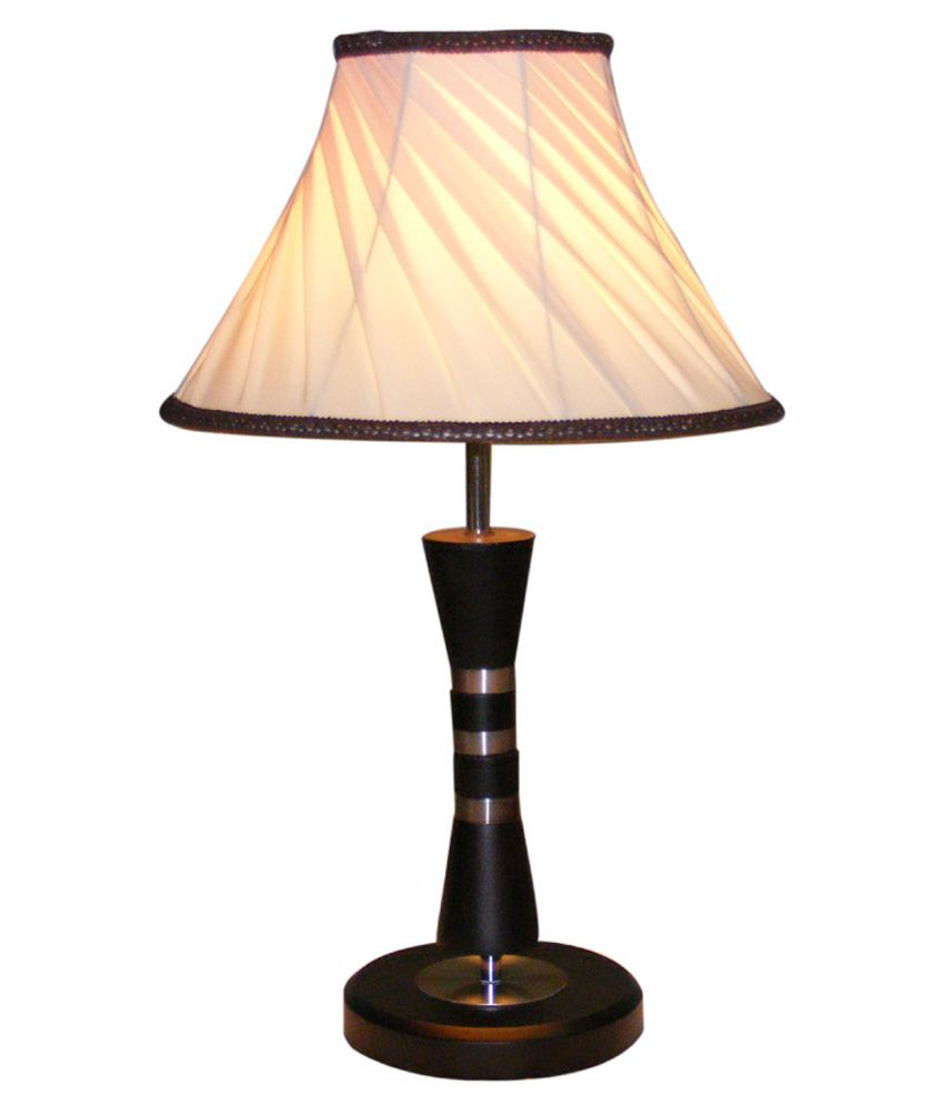 buy diya designs wooden brown with off white shade table lamp at best. Black Bedroom Furniture Sets. Home Design Ideas