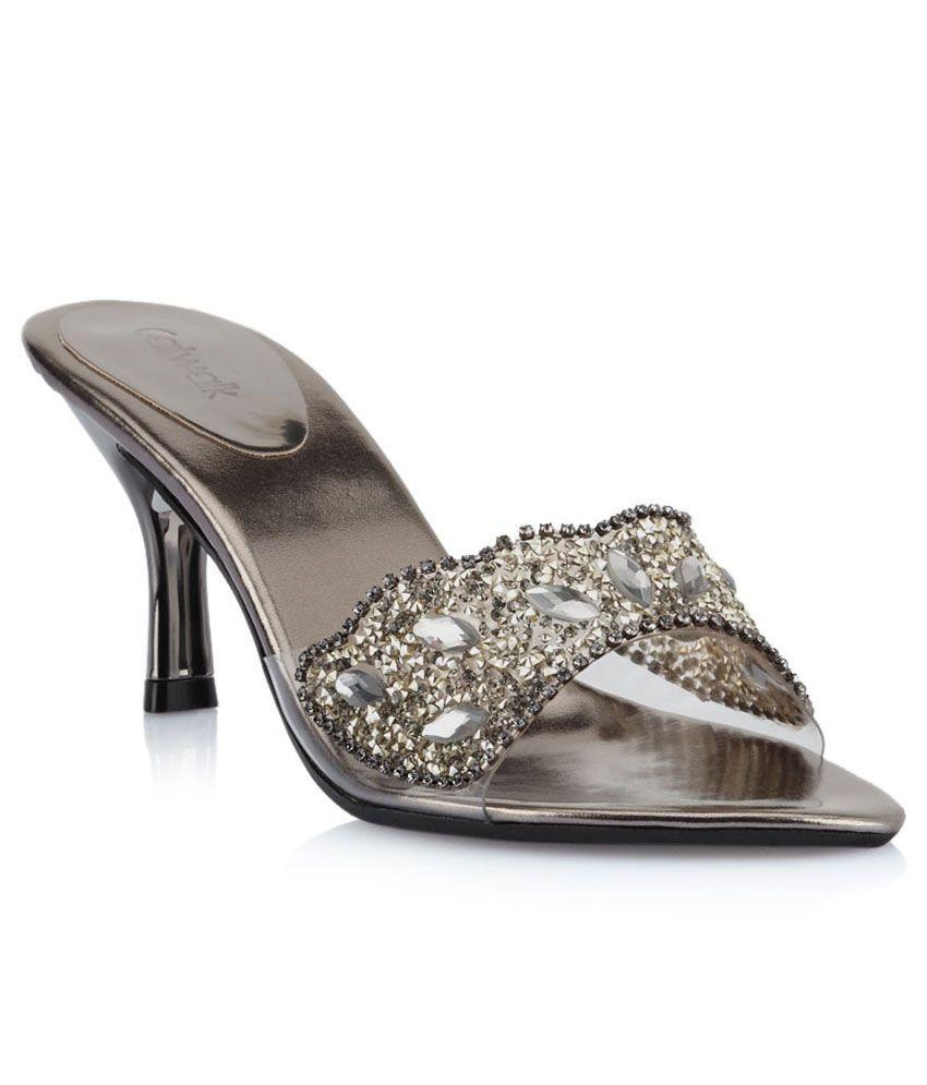 Catwalk Silver Stiletto Heeled Slip-Ons