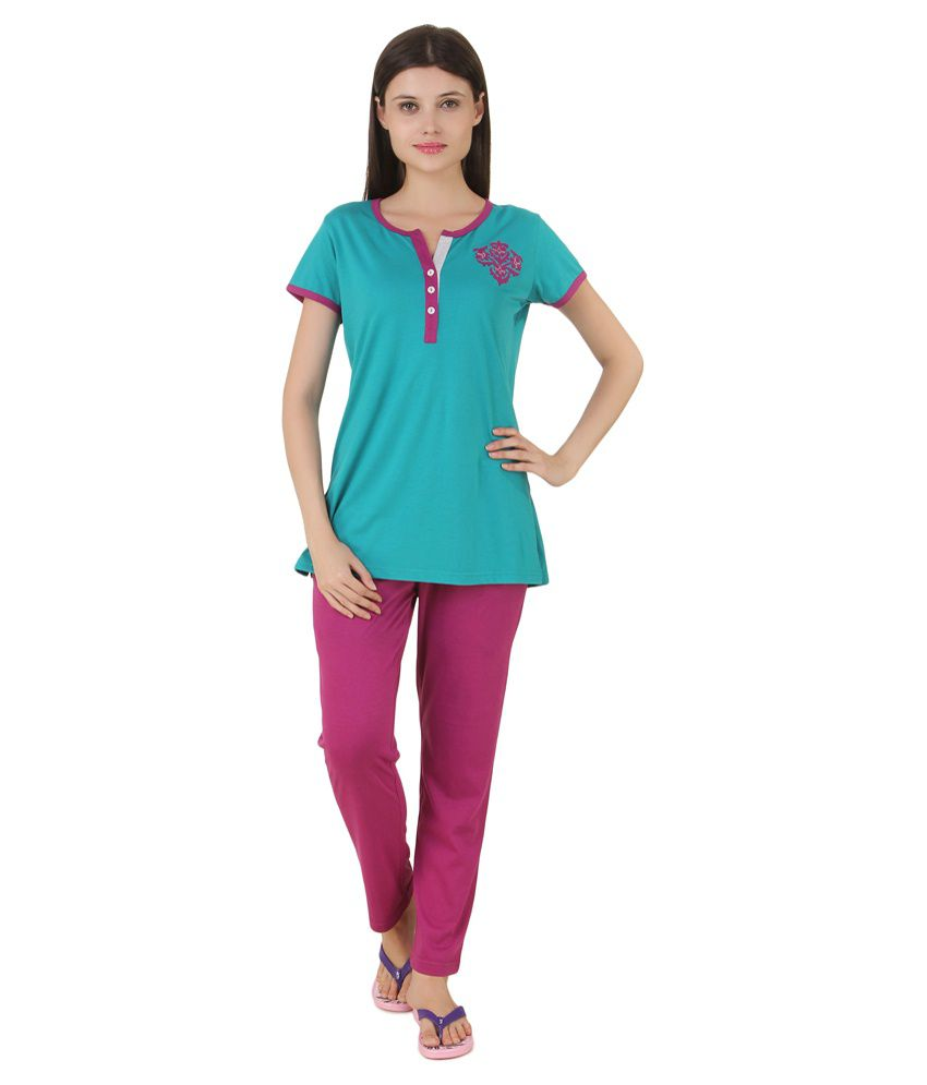 Fragrance Lingerie Green Cotton Nightsuit Sets