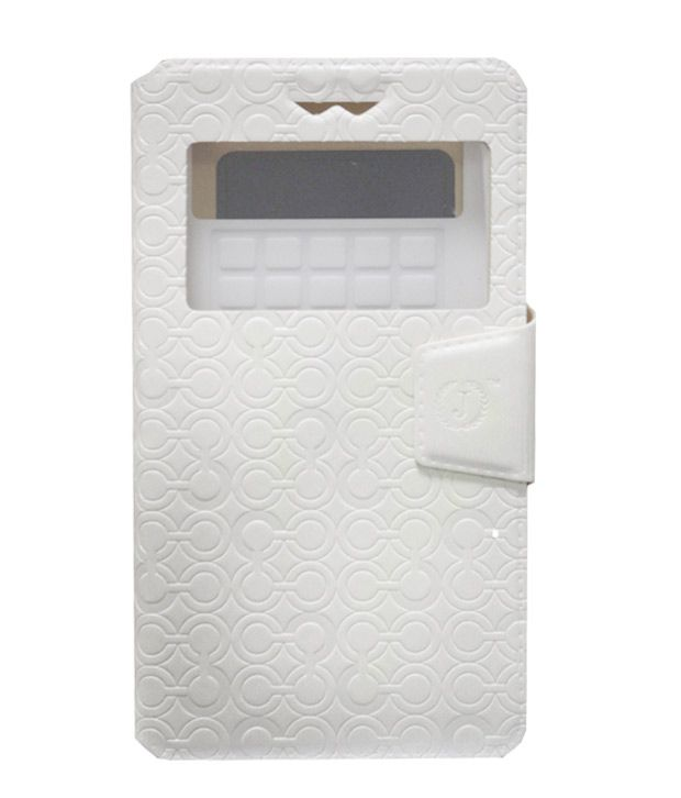Jo Jo Cover Astro Series Leather Pouch Flip Case With Silicon Holder For BLU Life One White