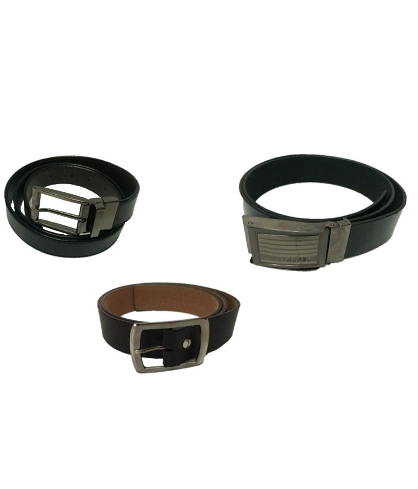 Madan Brown Leather Autolock Buckle Formal Belt Set Of 3
