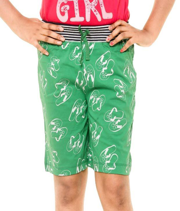 Menthol Green Cotton Shorts