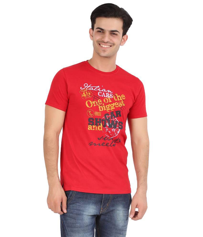 Moonwalker Red Cotton Half Sleeve Round Neck T-Shirt