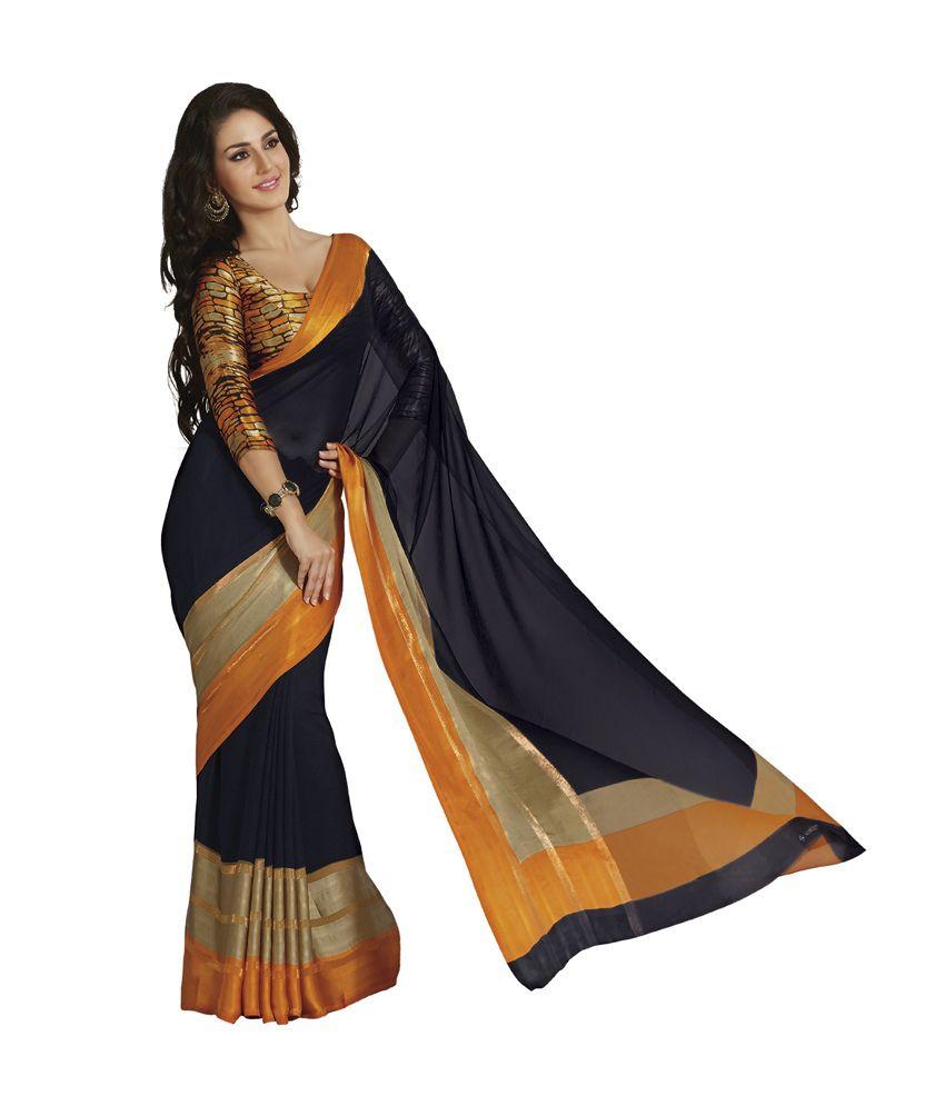 5064bb9d5 Subhash Sarees Black Faux Chiffon Saree - Buy Subhash Sarees Black Faux Chiffon  Saree Online at Low Price - Snapdeal.com