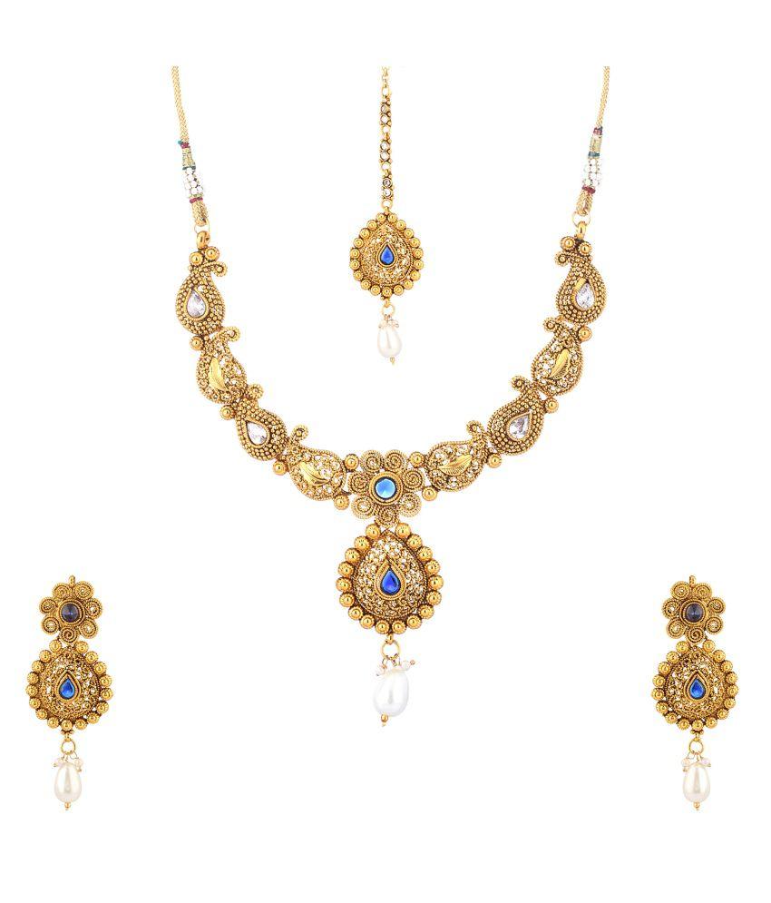 Cyan Golden Contemporary Jewellery Set