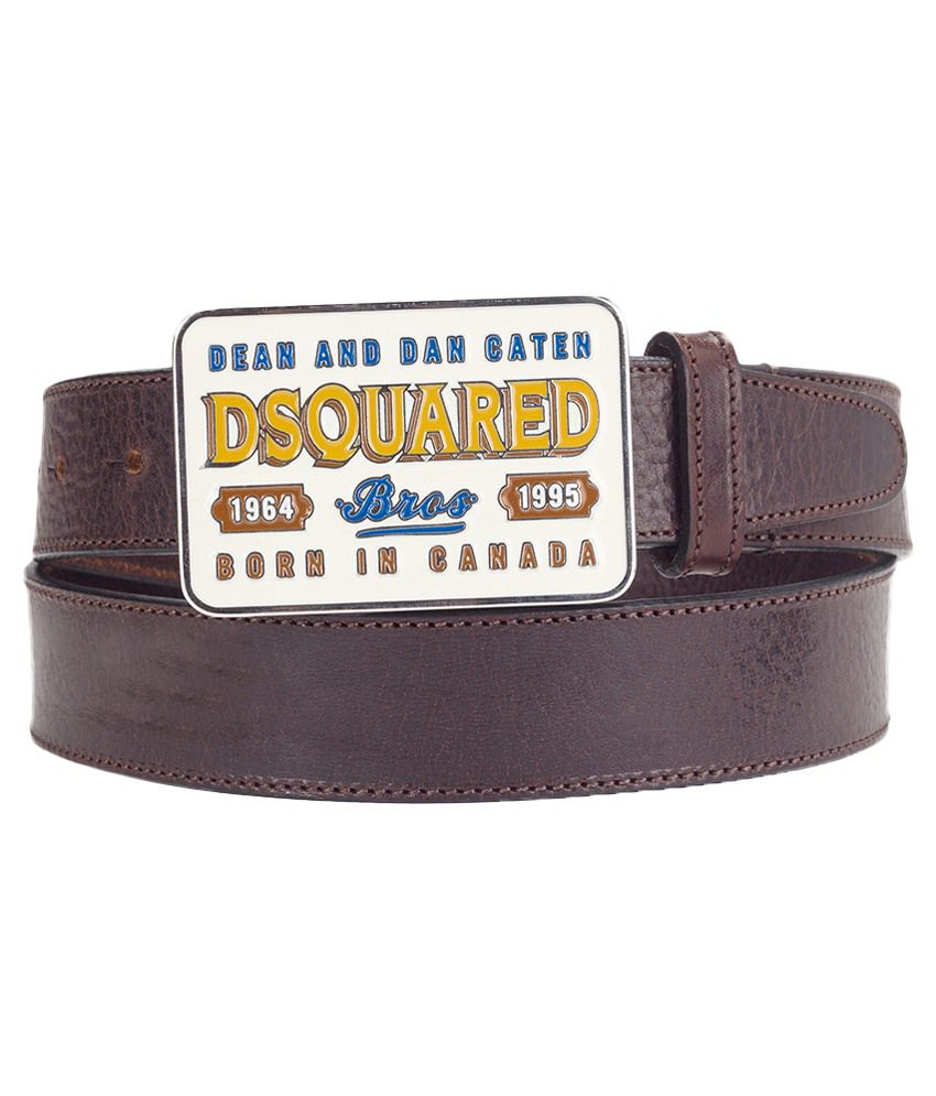 Dsquared2 Brown Leather Autolock Buckle Belt