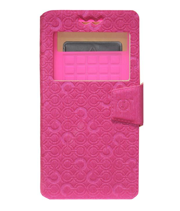 Jo jo Pouch Flip Cover with Silicon Holder for HTC Desire 7060 - Pink