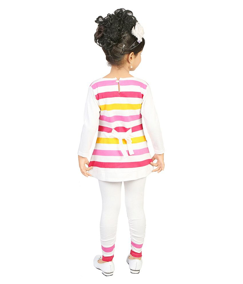 77663f5ec07f Justkids Pink   White Cotton Frock With Leggings For Girls - Buy ...