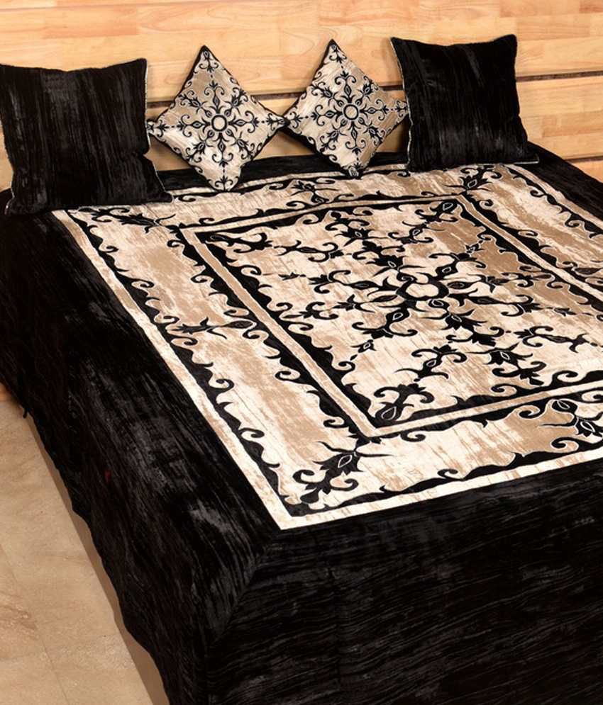 Shree Creations Black Velvet Bed Sheets ...