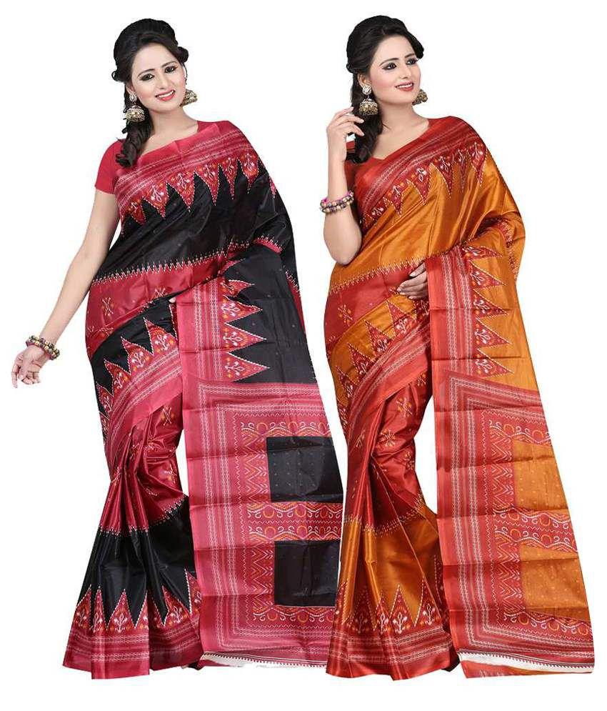 Shristy Fashion Multicolour Art Silk Pack of 2