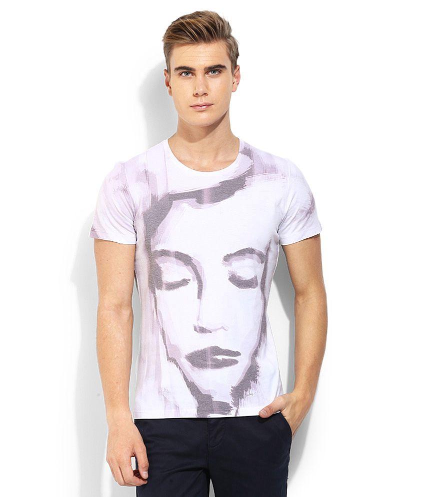 Sisley White Printed Round Neck T Shirt