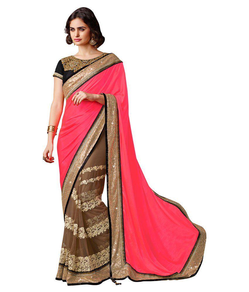 Styleyug Indian Designer Women's Lookout Collection Hot Pink Net Saree Sari