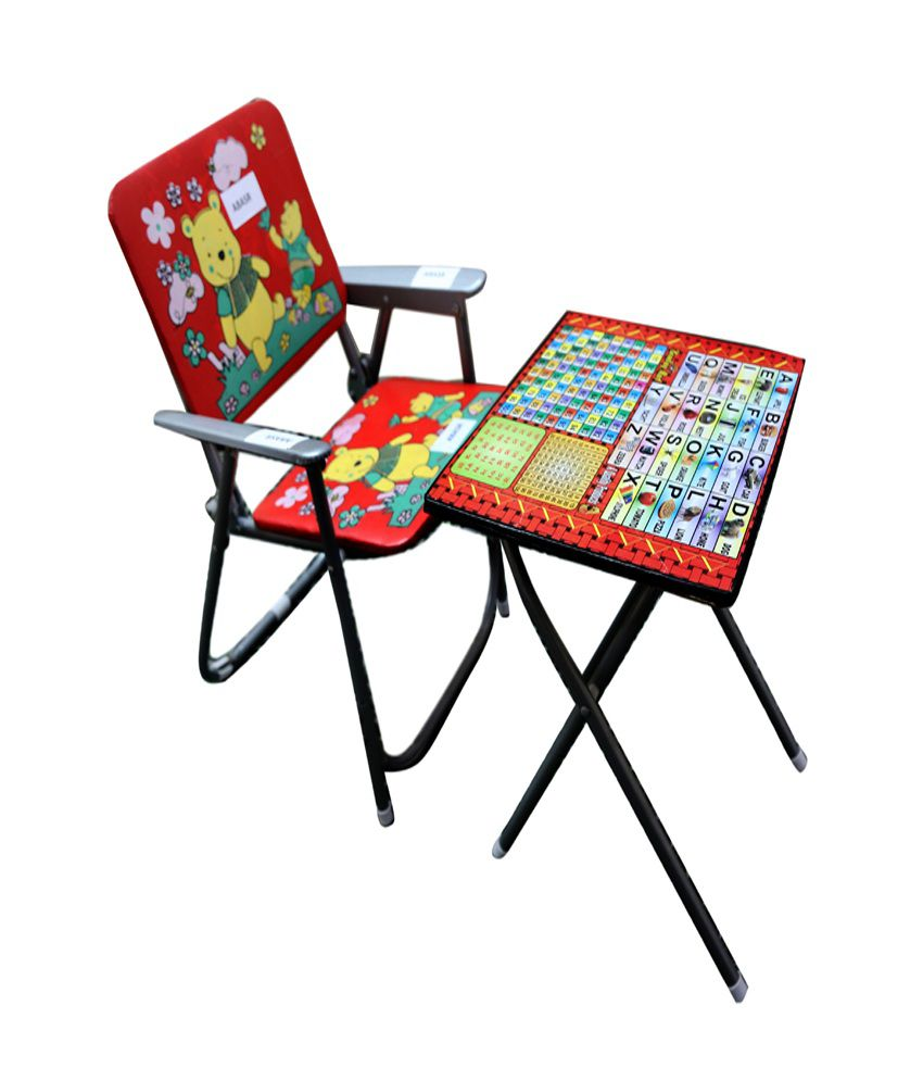 Abasr Multicolor Steel Frame Foldable Study Table And Chair