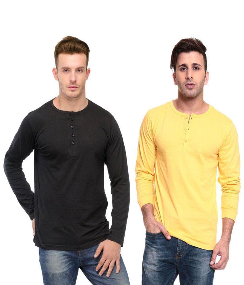 Ansh Fashion Wear Yellow and Black Basics Wear T-Shirt - Pack of 2
