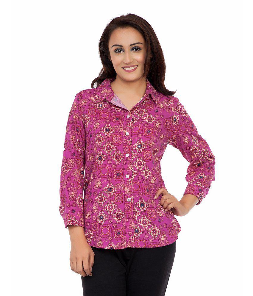 Deewa Pink Cotton Blend Shirts