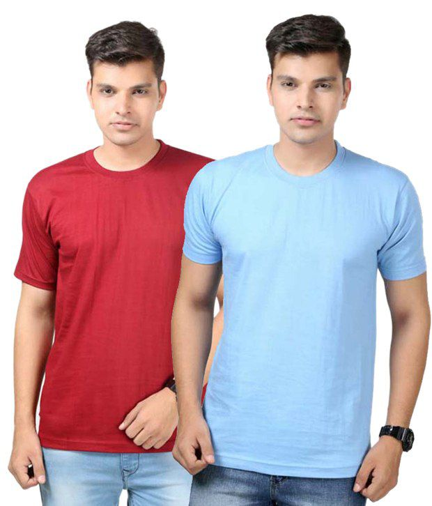 Etoffe Multicolor Cotton Round Neck Half Sleeve Basics T-Shirt - Pack Of 2