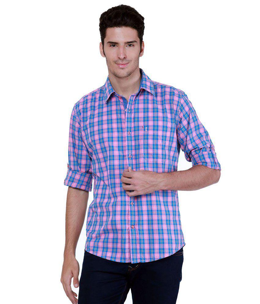 Grasim Blue & Pink Checkered Full Sleeve Casual Shirt for Men