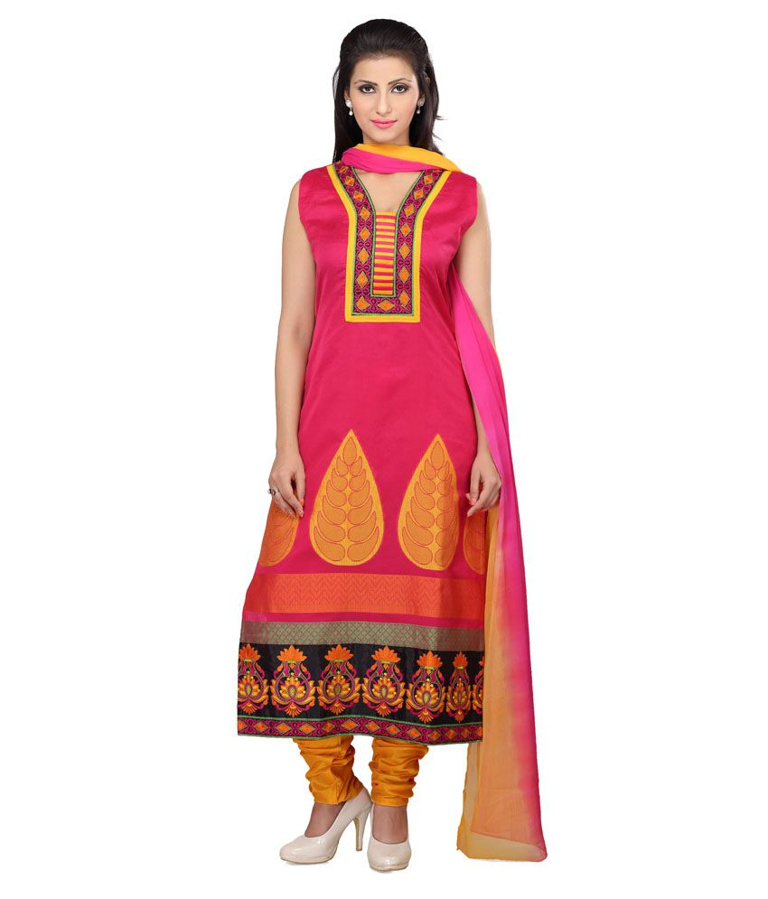 Smartlady Pink Art Silk Stitched Suit