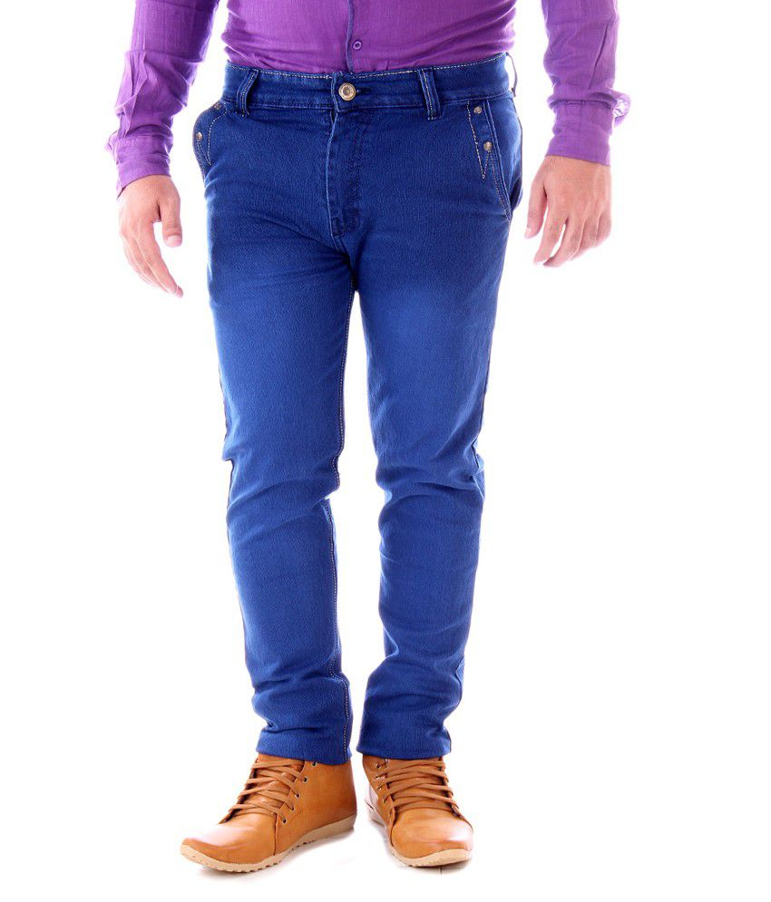 Yup Blue Cotton Slim Fit Jeans