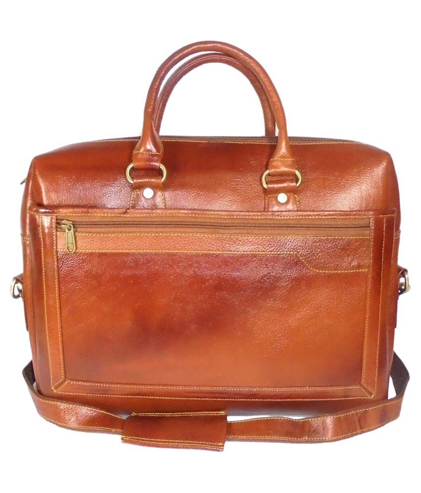 Adimani Brown Leather Laptop Bag