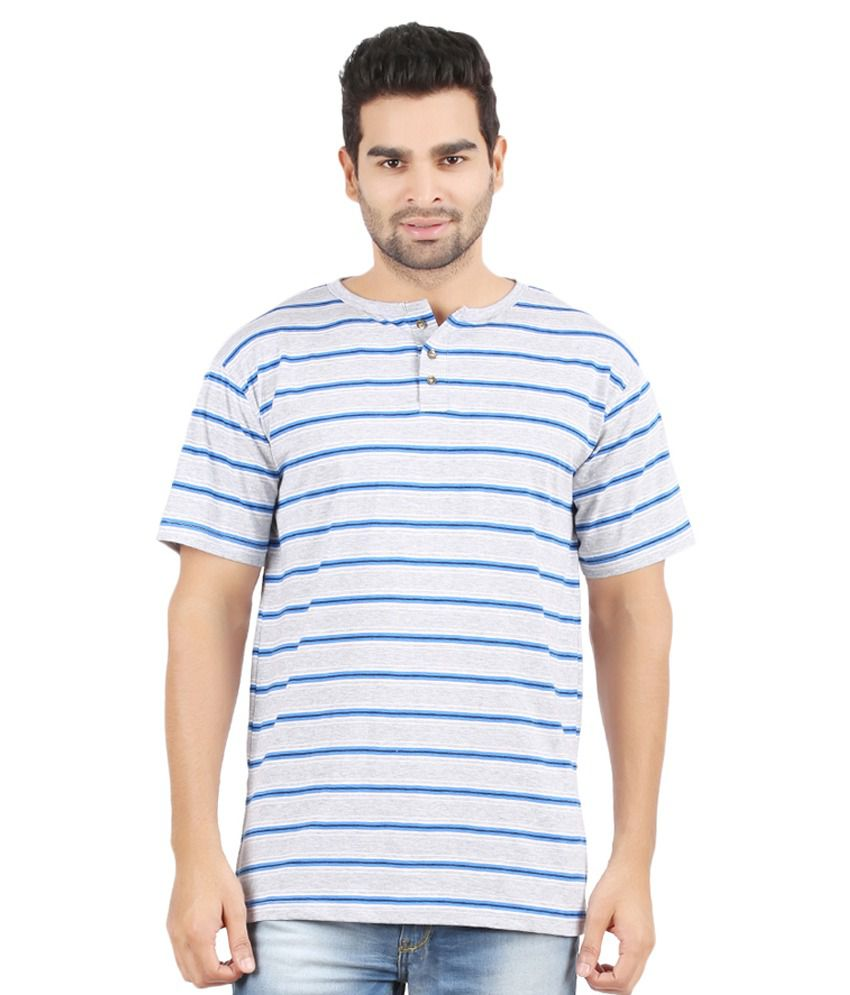Danteez Gray and Blue Half Sleeves Stripers Henley T-Shirt