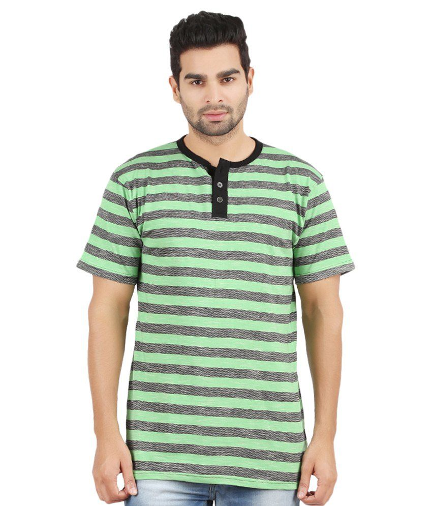 Danteez Green and Gray Half Sleeves Stripers Henley T-Shirt