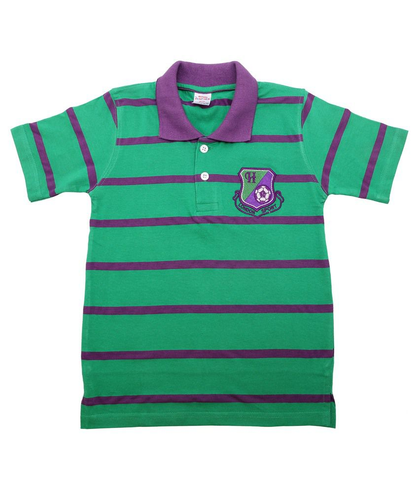 Hillman Green Cotton Striped T-shirt