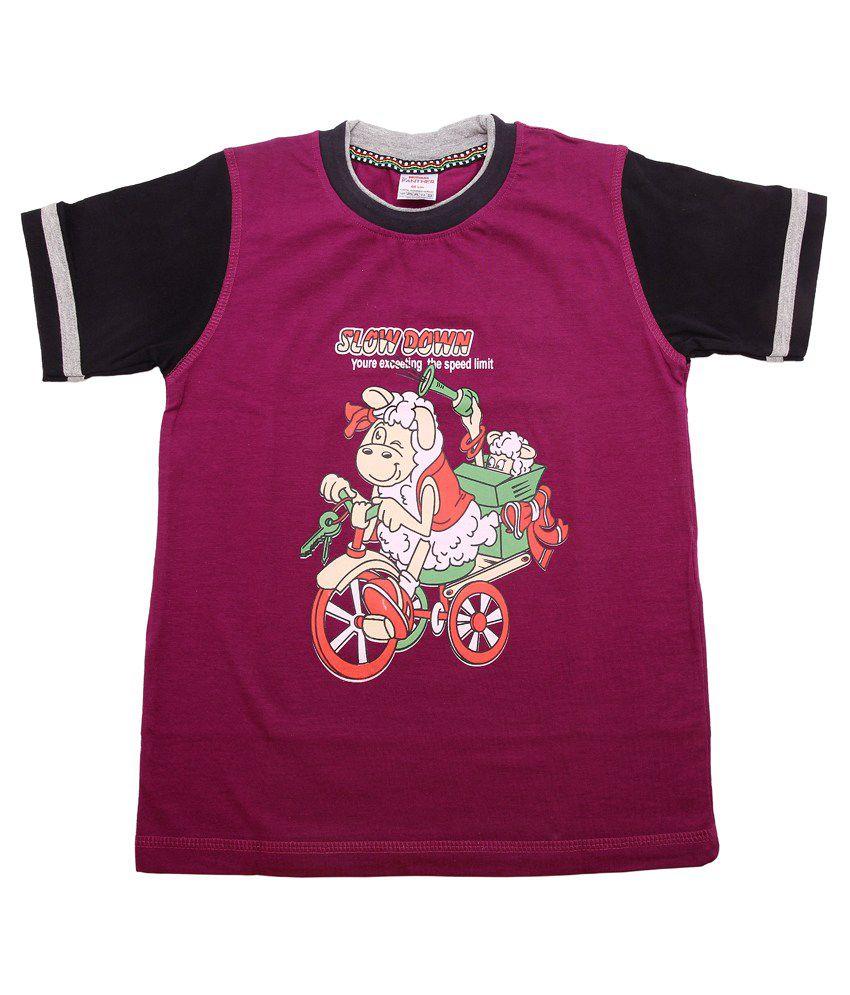 Hillman Purple Cotton Graphics T-shirt