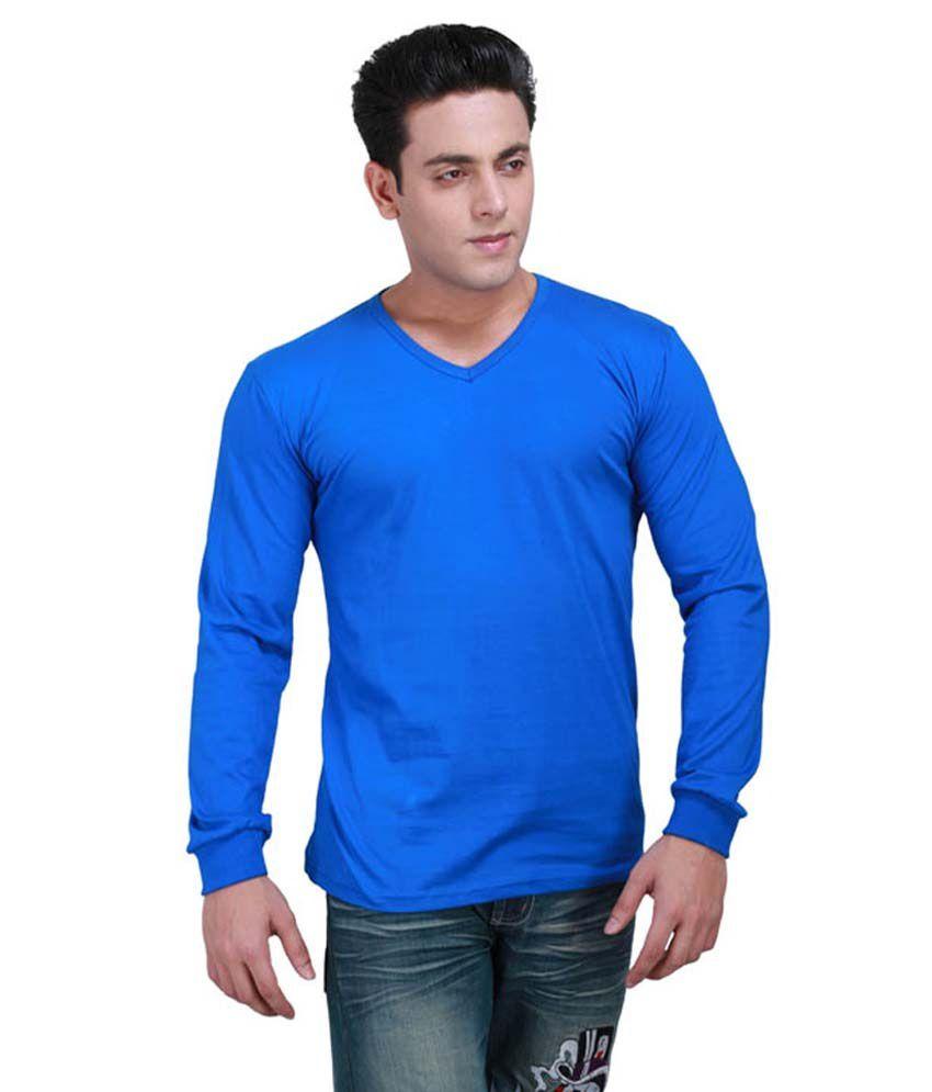 S.D. Knitwears Blue Cotton T-Shirt