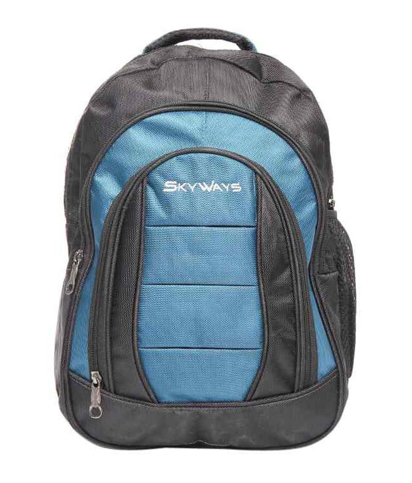 SkyWays ultra spacious Laptop Back Pack in Ebony Black & Bloom Blue