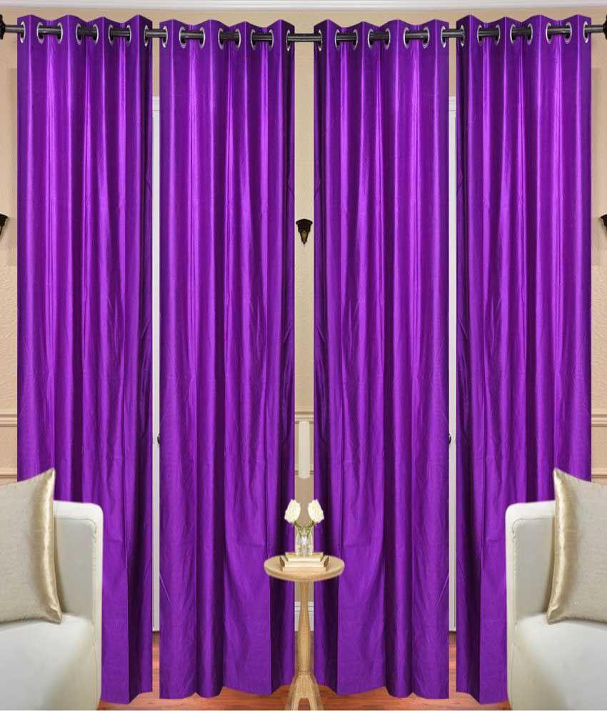 Handloom Hut Set of 4 Long Door Eyelet Curtains Solid Purple