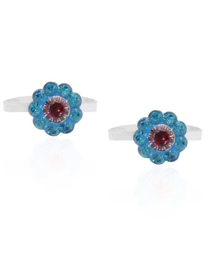 Pehchan Blue German Silver Toe-Rings